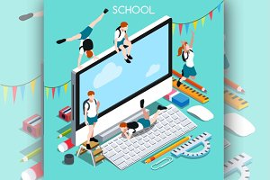 School Devices Set Desktop PC