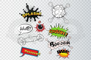 Comic speech bubbles sound effects