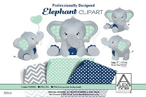 Blue Grey Elephant ClipArt   Custom-Designed Illustrations ...