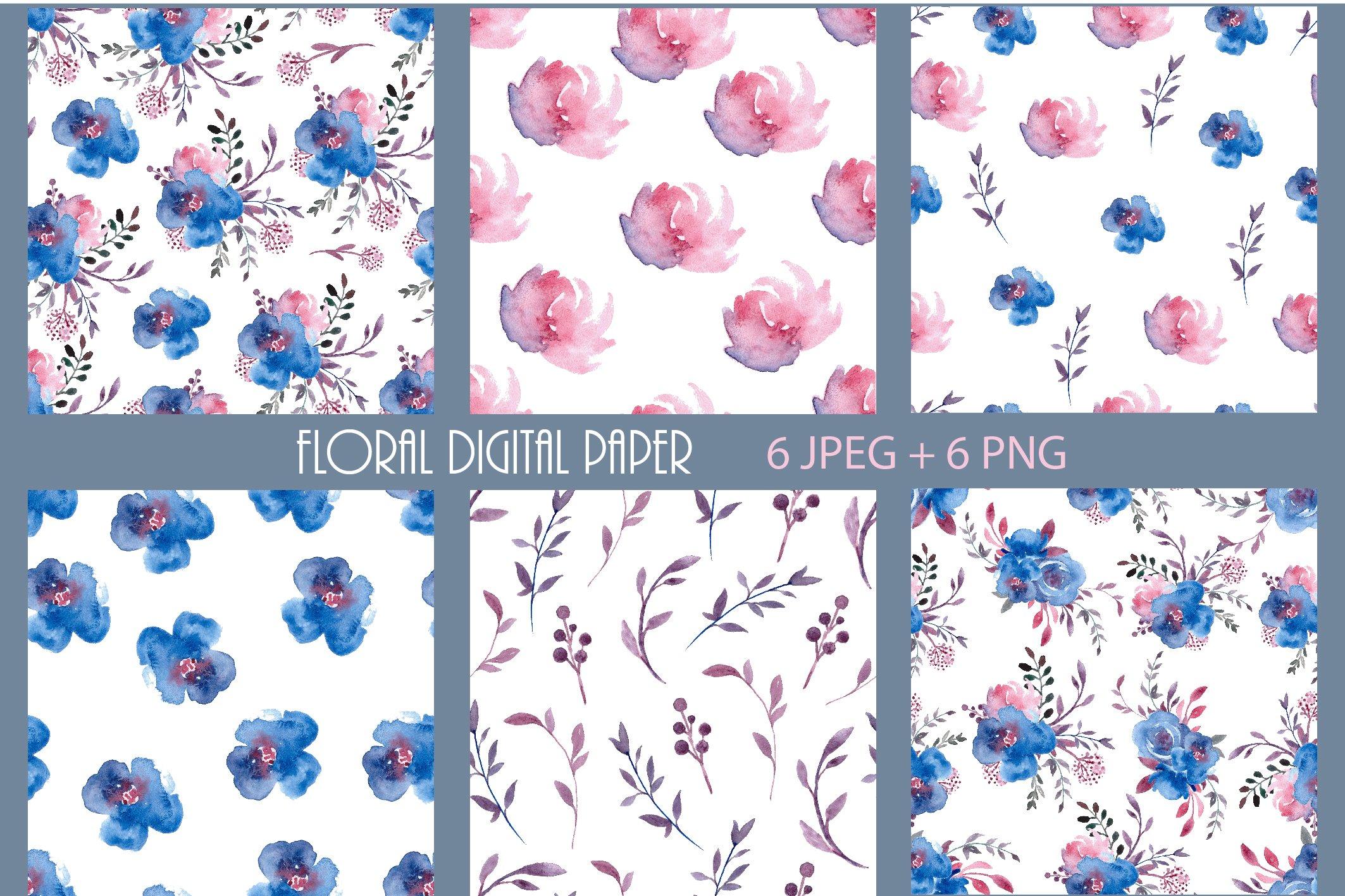 Floral Pattern Digital Paper Blue Pre Designed Photoshop Graphics Creative Market