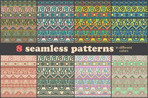 Eight seamless ethnic patterns