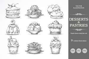 Hand drawn sketch dessert set