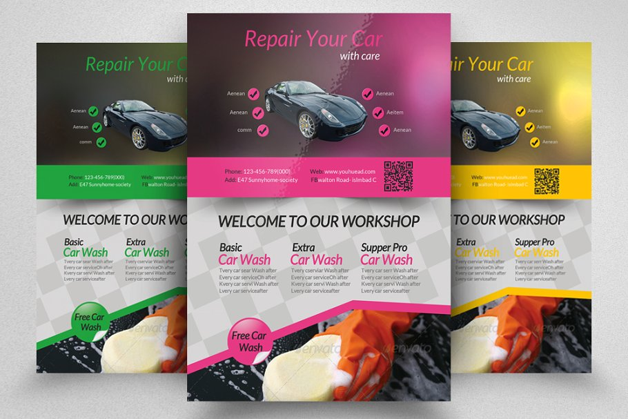 Car Wash Service Flyer Template in Flyer Templates