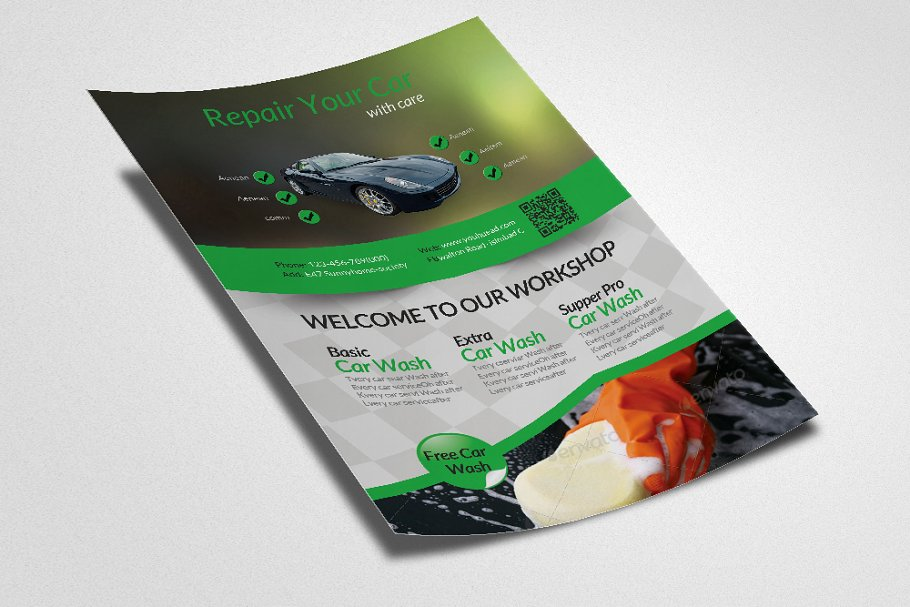 Car Wash Service Flyer Template in Flyer Templates - product preview 1