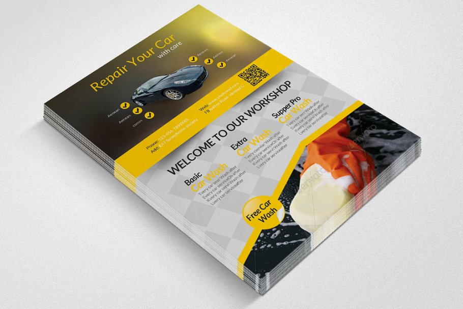 Car Wash Service Flyer Template in Flyer Templates - product preview 2