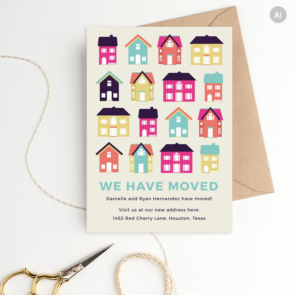 Moving announcement template stationery templates creative market maxwellsz