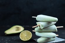 avocado lime popsicle, copy space by  in Food & Drink
