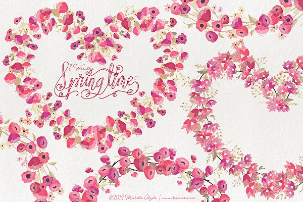 Springtime 03 - Red and Pink Wreaths