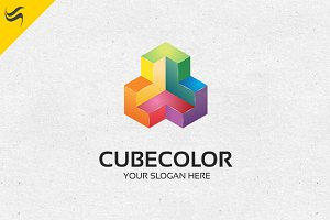 Cube Rainbow Color Logo Template