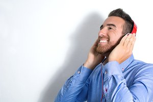 Man listening music with headphones.