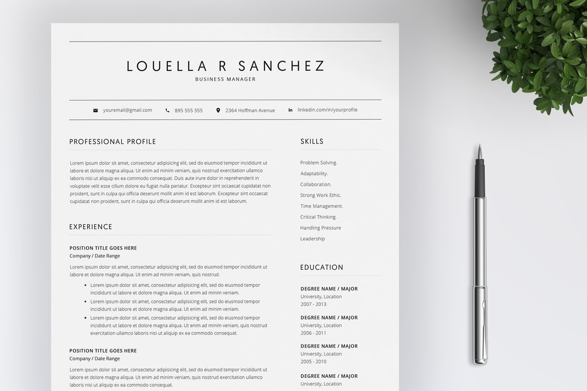 Word Resume Template / CV ~ Resume Templates ~ Creative Market