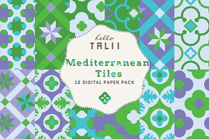 Mediterranean Tiles Digital Papers