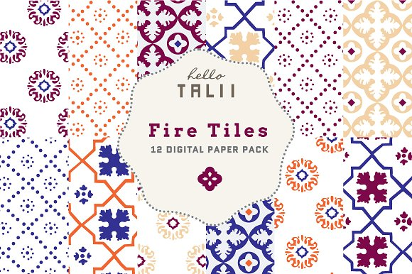 Fire Tiles Digital Papers