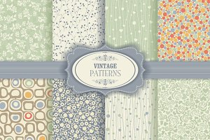 Set of 8 seamless pattern in floral