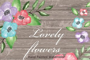 Watercolor lovely flowers