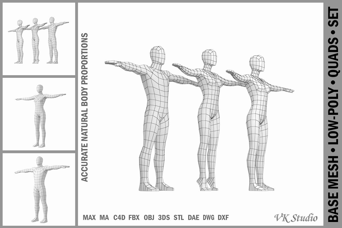 Female and Male Bodies in T-Pose
