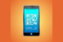 Barcode scanner phone. Vector