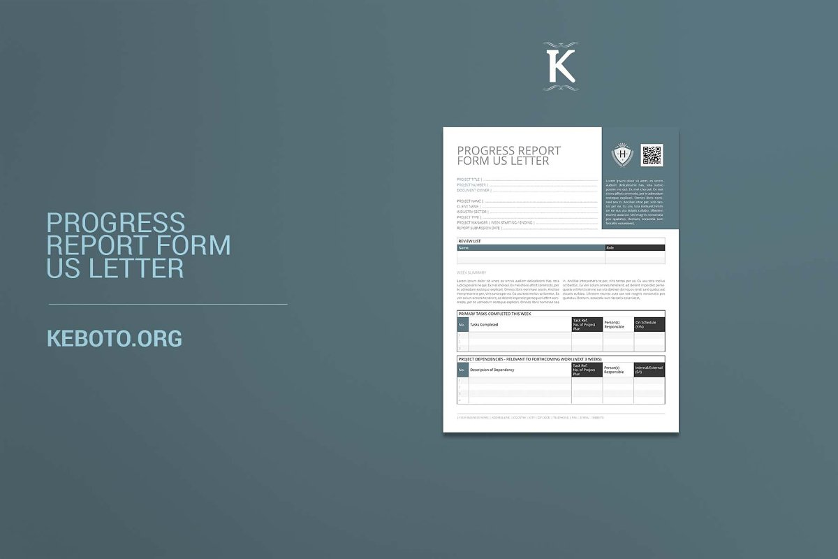 Progress Report Form US Letter in Templates