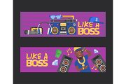Rap music vector dj character