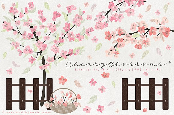 Cherry Blossoms 04 - Graphics Pack in Illustrations - product preview 1