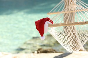 Hammock on a tropical beach resort in christmas holidays.jpg