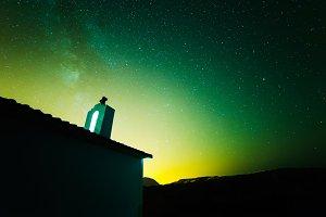Starry sky in green tone