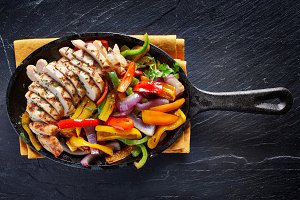 chicken fajitas overhead photo