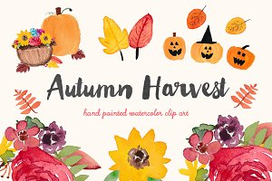 Autumn Harvest Watercolor Clip Art