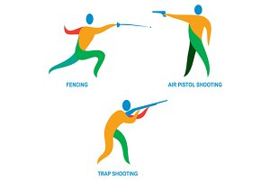 Shooting and Fencing Sport Icon