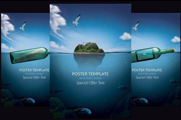 message in a bottle poster template flyer templates creative market