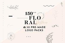 Floral Illustration & Logo Packs by  in Logos