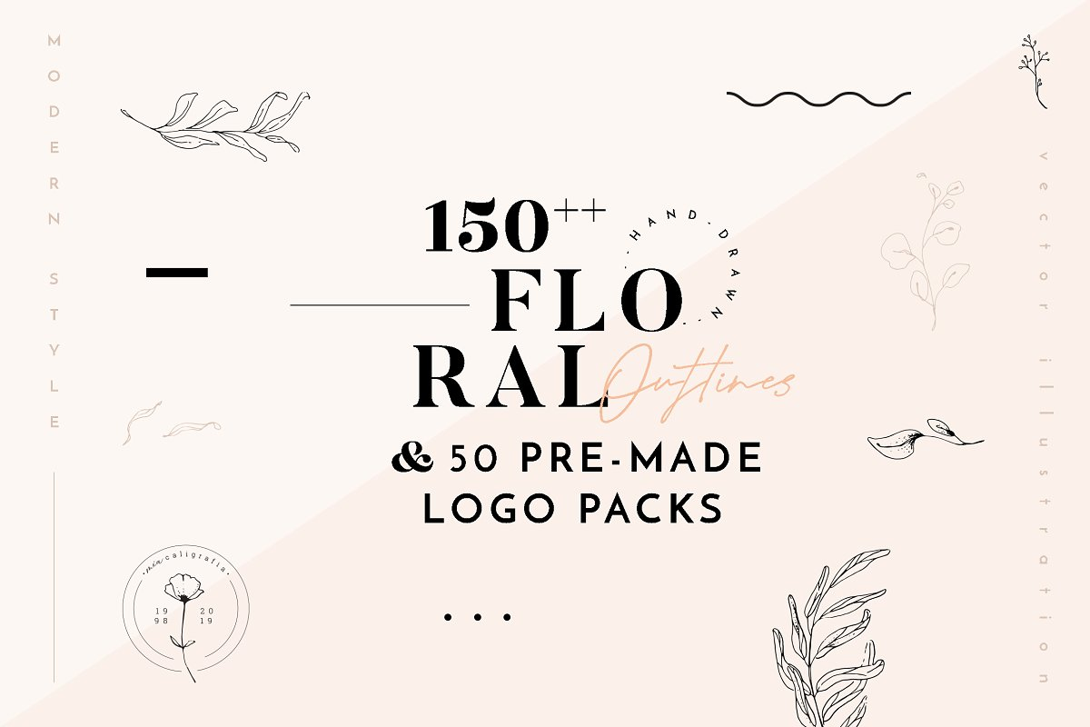 Floral Illustration & Logo Packs