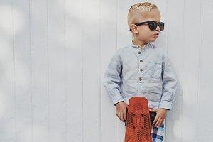 Cute little guy in trendy sunglasses