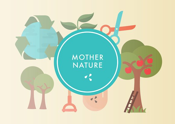 Mother nature illustrations creative market - Mother earth clipart ...