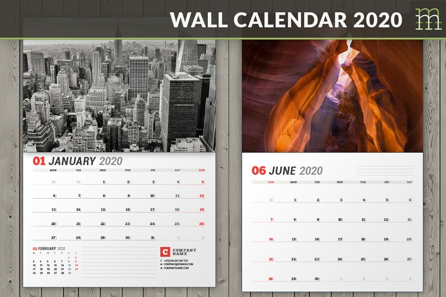 Wall Calendar 2020 (WC037 20) ~ Stationery Templates ~ Creative Market