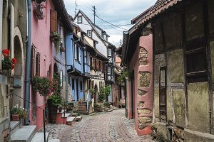 Medieval street in Eguisheim village