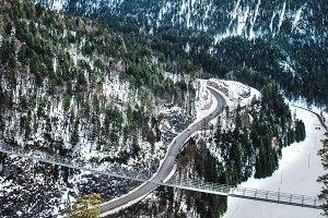 Bridge over a road in Tyrolean Alps