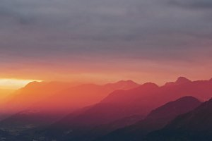 Dramatic mountain sunset panorama