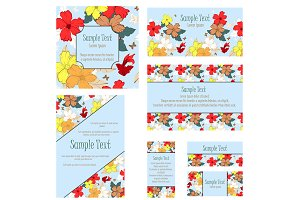 Set of 5 Floral Invitations