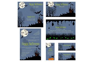 Set of 5 Halloween Invitation Cards