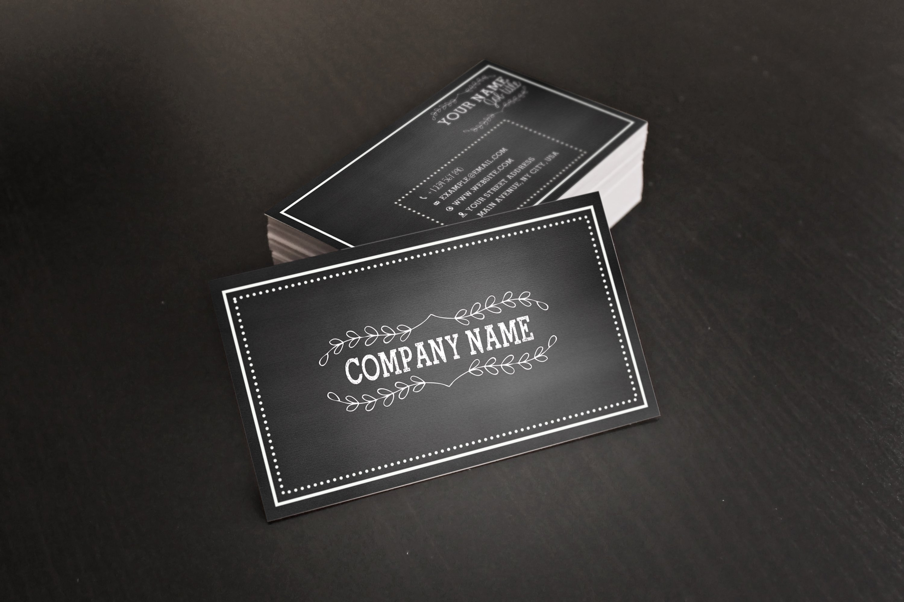 Chalkboard business card business card templates creative market reheart Choice Image