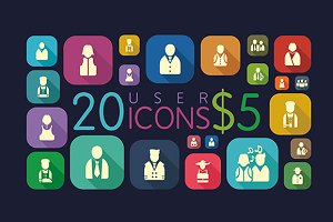 20 Long Shadow User Icons