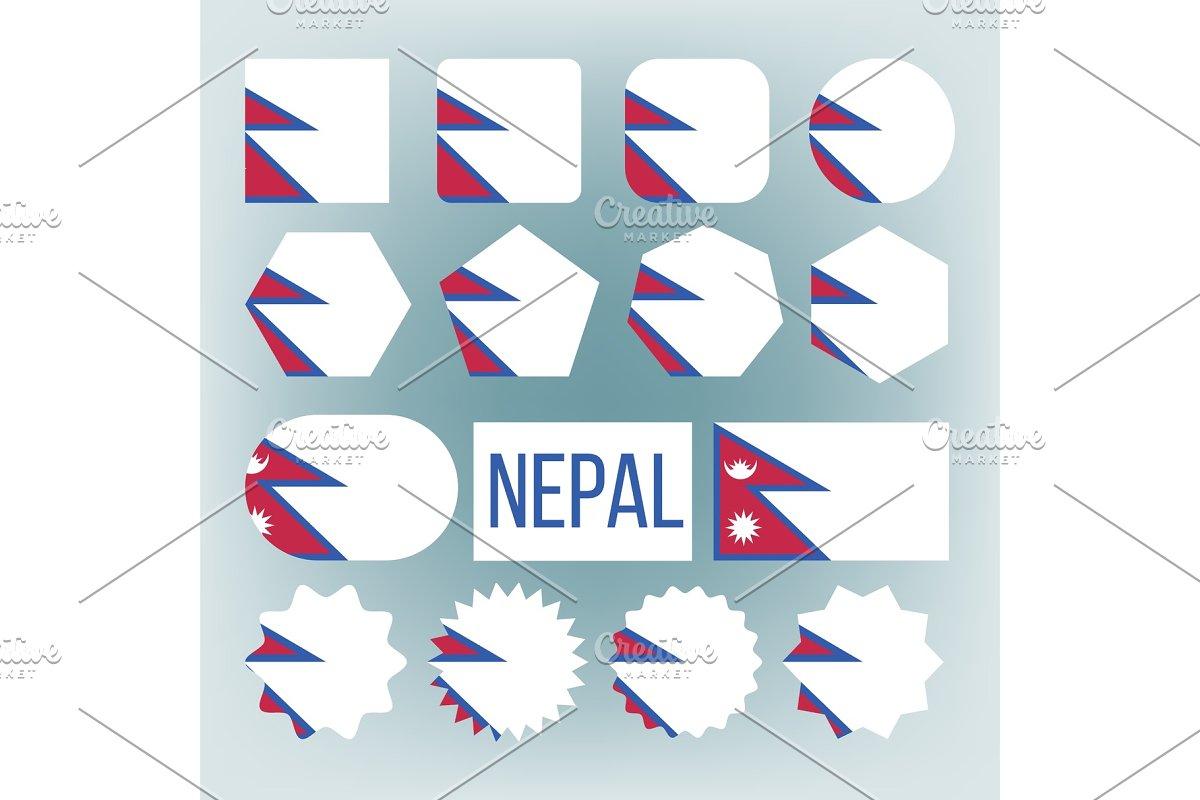 Nepal Flag Set Vector  Official