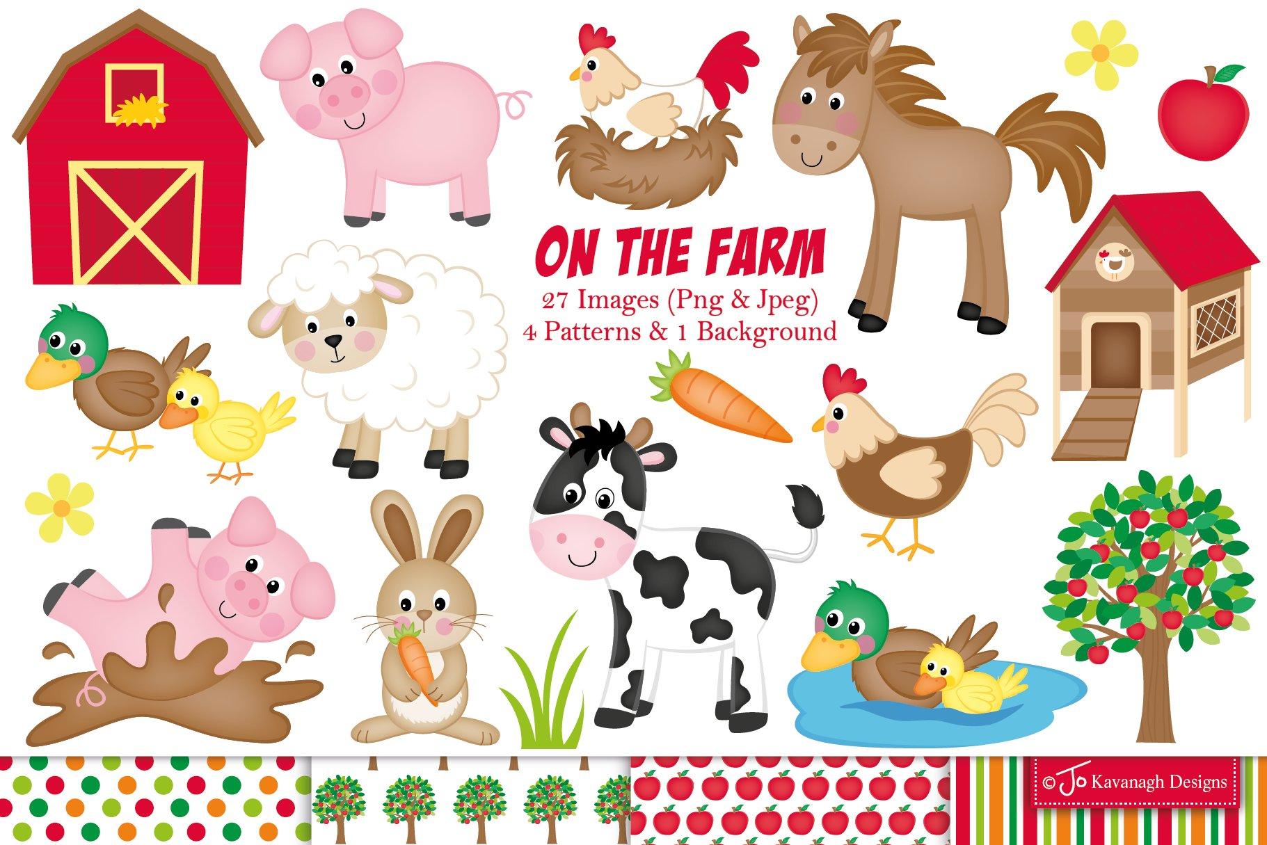 Farm clipart, Cute farm animals -C11 ~ Illustrations ...