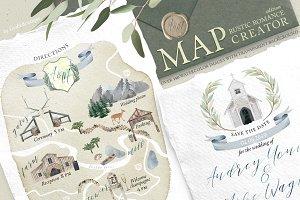 MAP creator. Rustic Romance. Wedding