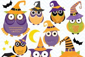 Halloween Owls clipart, commercial