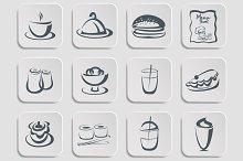 Restaurant menu silhouettes