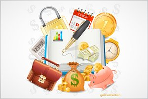 Items of business, money, gold coins