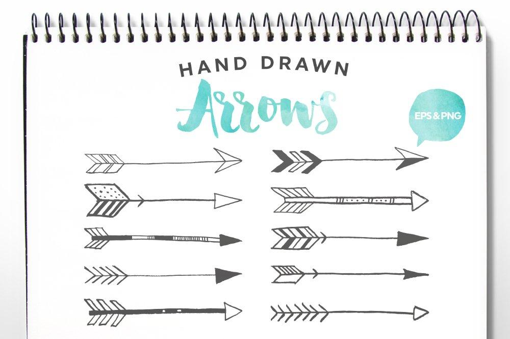hand drawn arrows clip art vector illustrations creative market