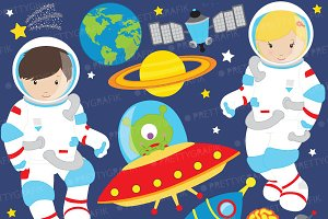 Astronaut in space clipart